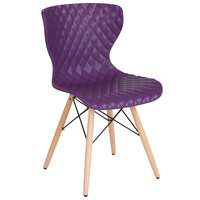 Flash Furniture LF-7-07-PUR-GG Bedford Contemporary Purple Plastic Chair with Wooden Legs