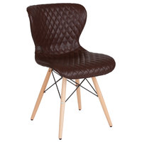 Flash Furniture LF-9-07M-BRN-GG Riverside Contemporary Brown Vinyl Upholstered Chair with Wooden Legs