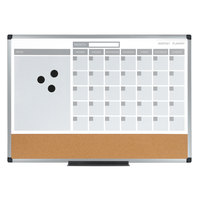 MasterVision MB0707186P 36 inch x 24 inch Magnetic Monthly Lacquered Steel Dry Erase / Cork Board with Silver Aluminum Frame