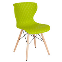 Flash Furniture LF-7-07-CGRN-GG Bedford Contemporary Citrus Green Plastic Chair with Wooden Legs