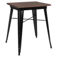 Flash Furniture CH-31330-29M1-BK-GG 23 1/2 inch Square Walnut Standard Height Table with Black Metal Frame