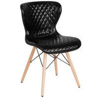 Flash Furniture LF-9-07M-BLK-GG Riverside Contemporary Black Vinyl Upholstered Chair with Wooden Legs