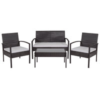 Flash Furniture JJ-S312-GG Aransas Series 4-Piece Black Steel Patio Set with Gray Cushions