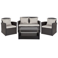 Flash Furniture JJ-S351-GG Aransas Series 4-Piece Black Rattan Weave Patio Set with Gray Pillows / Cushions