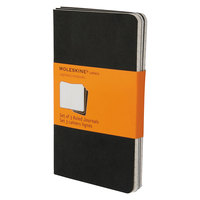 Moleskine QP311 3 1/2 inch x 5 1/2 inch Black Ruled Cahier Journal - 3/Pack