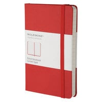 Moleskine MM710R 5 1/2 inch x 3 1/2 inch Red Ruled Hardcover Notebook
