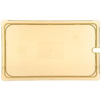Carlisle 10417U13 StorPlus Full Size Amber Universal High Heat Flat Lid with Spoon Notch