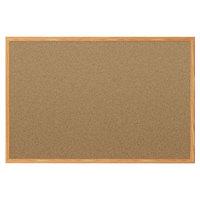 Mead 85366 36 inch x 24 inch Brown Cork Bulletin Board with Oak Frame