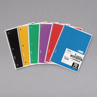 Mead 73065 Assorted Color 1 Subject College Ruled Spiral Notebook - 6/Pack
