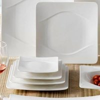 CAC MDN-6 Modern 6 1/4 inch New Bone White Square Porcelain Plate - 36 / Case