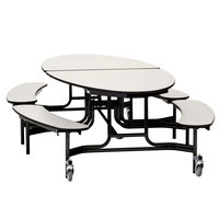 National Public Seating METB-PBTMPC 10' Elliptical Mobile Particleboard Cafeteria Table with Powder Coated Frame, T-Mold Edge, and 4 Benches