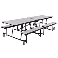 National Public Seating MTFB8-PWTMCR 8' Rectangular Mobile Plywood Cafeteria Table with Chrome Frame, T-Molding Edge, and 4 Benches