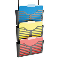 Officemate 29314 28 inch x 13 1/2 inch x 4 3/4 inch Charcoal 3-Pocket Filing System with Hanger Set