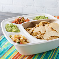 Eco Products EP-BLI1604 Regalia White 4-Compartment Compostable Sugarcane Bowl Insert - 300/Case