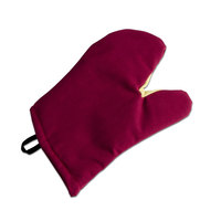 San Jamar KT0212 Cool Touch Flame Red Conventional Oven Mitt with Kevlar® – 13 inch