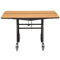 National Public Seating MT48Q-PWTMCR 48 inch Square Mobile Plywood Cafeteria Table with Chrome Frame and T-Molding Edge