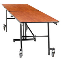 National Public Seating MT12-PWTMPC 12' Rectangular Mobile Plywood Cafeteria Table with Powder Coated Frame and T-Molding Edge