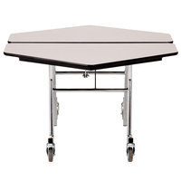 National Public Seating MT48H-PBTMPC 48 inch Hexagonal Mobile Particleboard Cafeteria Table with Powder Coated Frame and T-Molding Edge
