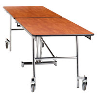 National Public Seating MT12-PWPECR 12' Rectangular Mobile Plywood Cafeteria Table with Chrome Frame and ProtectEdge