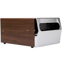 Vollrath 6512-12 Walnut One Sided Countertop Fullfold Napkin Dispenser with Chrome Faceplate