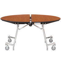 National Public Seating MT48R-PBTMPC 48 inch Round Mobile Particleboard Cafeteria Table with Powder Coated Frame and T-Molding Frame