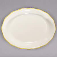 12 5/8 inch x 9 1/4 inch Ivory (American White) Scalloped Edge China Platter with Gold Band - 12/Case