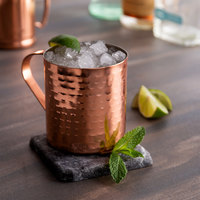 Acopa 14 oz. Straight Sided Moscow Mule Cup with Hammered Copper Finish   - 12/Pack
