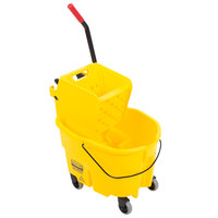 Rubbermaid FG748000YEL WaveBrake® 26 Qt. Yellow Mop Bucket with Side Press Wringer