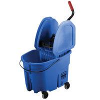 Rubbermaid FG757888BLUE WaveBrake® 35 Qt. Blue Mop Bucket with Down Press Wringer