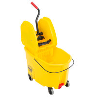 Rubbermaid FG757688YEL WaveBrake® 44 Qt. Yellow Mop Bucket with Down Press Wringer and Drain