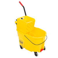 Rubbermaid FG618688YEL WaveBrake® 44 Qt. Yellow Mop Bucket with Side Press Wringer and Drain