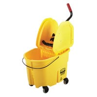 Rubbermaid FG757788YEL WaveBrake® 35 Qt. Yellow Mop Bucket with Down Press Wringer
