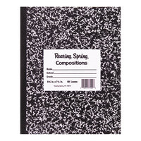 Roaring Spring 77332 7 inch x 8 1/2 inch White Wide Ruled 36 Page Composition Book with Black Cover