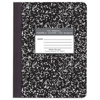 Roaring Spring 77230 7 1/2 inch x 9 3/4 inch White Wide Ruled 100 Page Composition Book with Black Marble Cover