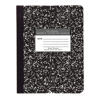 Roaring Spring 77222 7 1/2 inch x 9 3/4 inch White Wide Ruled 60 Page Composition Book with Black Marble Cover