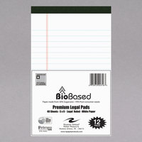 Roaring Spring 24316 USDA Certified Bio Preferred 5 inch x 8 inch Legal Ruled White Micro-perforated Legal Pad   - 12/Pack