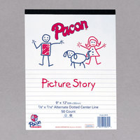 Pacon 2423 9 inch x 12 inch Multi-Program 16# White 1/2 Rule Handwriting Picture Story Paper - 500/Pack