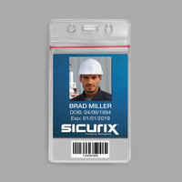 BaumGartens 47840 Sicurix 2 5/8 inch x 3 3/4 inch Clear Vertical Sealable Cardholder   - 50/Pack
