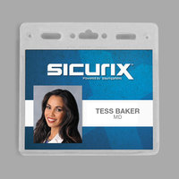 BaumGartens 67830 Sicurix 4 inch x 3 inch Clear Horizontal Vinyl Badge Holder - 50/Pack