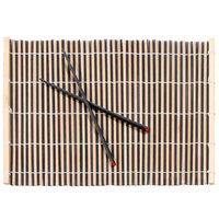 Town 34254 Natural and Black Bamboo Placemat with Chopsticks - 4/Set