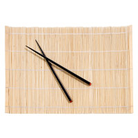 Town 34253 18 inch x 12 inch Natural Bamboo Placemat with Chopsticks - 4/Set