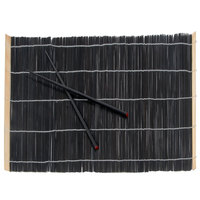 Town 34252 18 inch x 12 inch Black Bamboo Placemat with Chopsticks - 4/Set