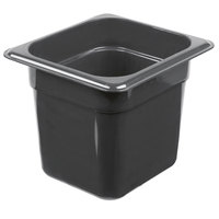 Cambro 66HP110 H-Pan™ 1/6 Size Black High Heat Plastic Food Pan - 6 inch Deep