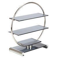 Bon Chef 2902 26 inch x 11 /4 inch x 28 1/2 inch Stainless Steel and Glass Wheel Display Stand