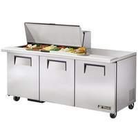 True TSSU-72-18M-B 72 inch Mega Top Three Door Sandwich / Salad Prep Refrigerator