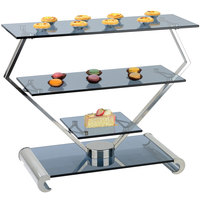 Bon Chef 2901 26 1/2 inch x 11 1/4 inch x 20 inch Stainless Steel and Glass Modern Display Stand