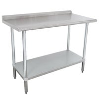 Advance Tabco SFLAG-240-X 24 inch x 30 inch 16 Gauge Stainless Steel Work Table with 1 1/2 inch Backsplash and Stainless Steel Undershelf