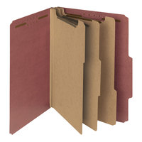 Smead 14099 Letter Size Red Pressboard 3 Divider Classification Folder - 10/Box