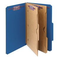 Smead 19077 Legal Size Dark Blue Pressboard 2 Divider Classification Folder with SafeSHIELD Fasteners and Internal Pockets - 10/Box