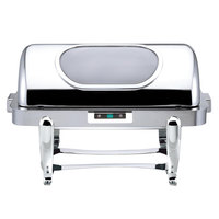 Bon Chef 16040CH Roman Elite 6 Qt. Rectangular Chrome Electric Chafer with Automatic Open / Close Lid and Glass Window